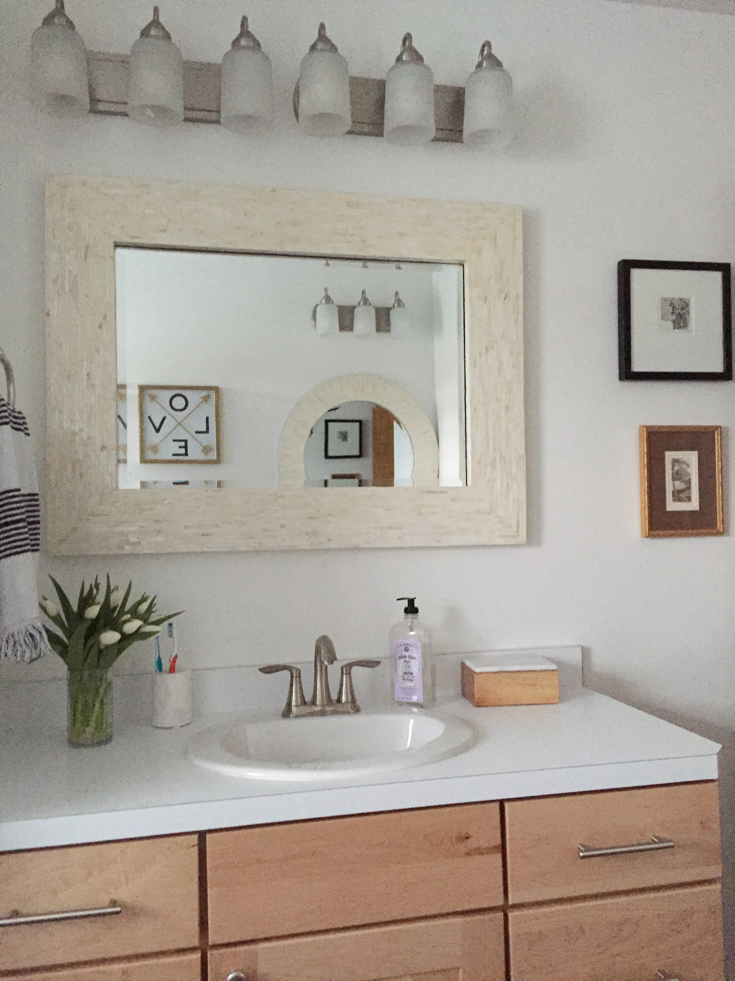 The Light Fixtures, Which I Donu0027t Love But Donu0027t Hate, Are From Lowes.  (Light Fixtures For Vanities Are So Hard!) I Found The Mother Of Pearl  Mirrors At ...